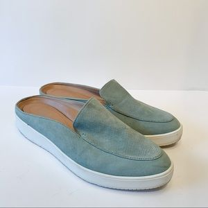 Dr Scholls Slip On Mules Loafers Green Suede Sz 9